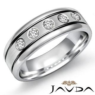 9mm Men Half Wedding Band 5STONE Round Diamond Solid Ring 14k Gold