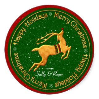Golden Reindeer Christmas Gift Tags Sticker