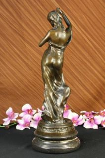 Graceful Woman standing on a Rock Bronze Marble Sculpture Statue