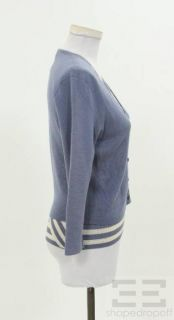 Malo 2pc Light Blue Cream Stripe Shell Cardigan Twinset Size 42