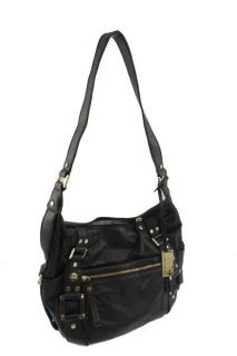 Marc Fisher Trunk Show Black Lined Shoulder Handbag Medium BHFO
