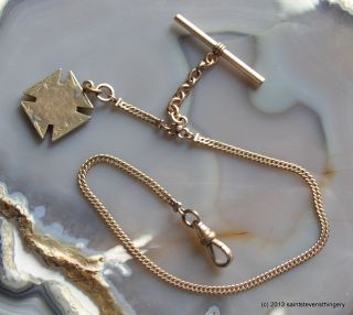 Simmons Gold Filled Pocket Watch Chain and GF Maltese Cross Fob
