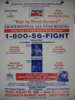 1995 Daren Zenner vs Mark Simmons on Site Boxing Poster Tarrytown New