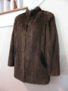 Vintage Corduroy Style Mink Coat Bohemian Warm Brown