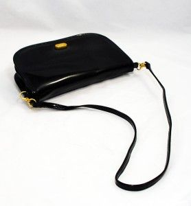 Gorgeous Vintage Margolin NYC Black Patent Convertible Clutch Shoulder