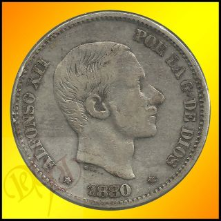 Spain Philippines 50 Centimos de Peso 1880 Alfonso XII Silver Coin
