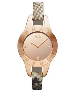 Armani Exchange Watch, Womens Brown and Tan Python Stamped