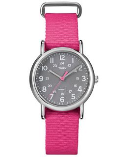 Timex Watch, Weekender Pink Slip Through Nylon Strap 31mm T2N834UM