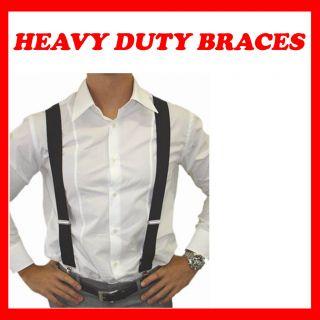 New Mens Braces in Y Shape Heavy Duty Elastic in Black