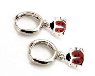 Sterling Silver Filled 925 Huggie Hoop Earrings Red Lady Bug Kids Girl