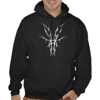 Deer Skull Tribal Tattoo   white on black Hoodie