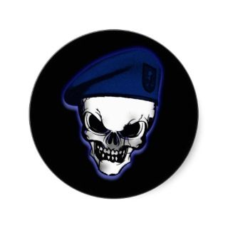Skull with Military Beret Sticker