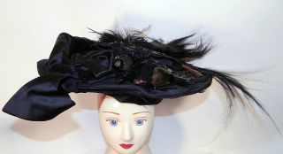 Victorian Marie Louise Paris Label Black Bird Feather Neapolitan Flat