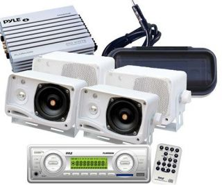 New Marine Boat  Player Aux Radio Cover 4 White Speakers 400W Amp