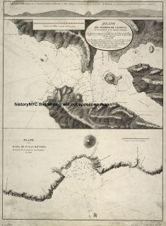 1788 Spanish Nautical Map Corral Bay Chile