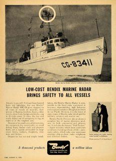 1956 Ad Bendix Aviation Marine Radar Coast Guard Boat   ORIGINAL
