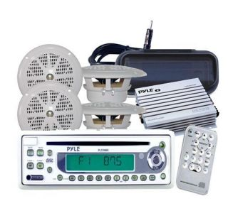 Marine Yacht CD AUX Radio Stereo 4 Speakers 400W Amp + Antenna /Cover