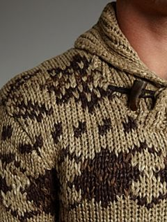 Polo Ralph Lauren Nordic print shawl neck jumper Brown
