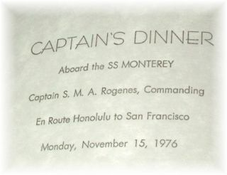 SET OF 28   MONTEREY & MARIPOSA CRUISE SHIPS MENUS