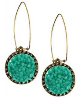 RACHEL Rachel Roy Earrings, Gold Tone Glass Turquoise Druzy Linear