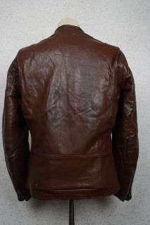 Vtg 60s Brooks Steerhide Cafe Racer Leather Motorcycle Biker Jacket