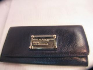 marc by marc jacobs auth navy blue leather hillier wallet, continental