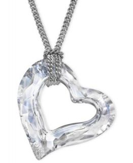 Swarovski Necklace, Silver Tone Crystal Heart Pendant Necklace