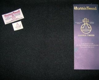 Genuine Harris Tweed 100 Wool Cloth Fabric Plain Black 75cm x 50cm