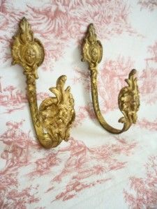Superb Pair of Antique French Ormolu Curtain Tie Back Hooks Late 1800