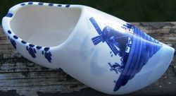 Vintage Delft Blue Windmill Scene Dutch Shoe Ashtray Holland