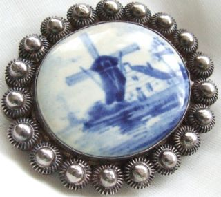 Vintage Retro Sterling Silver Windmill Delft Holland Brooch Pin
