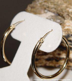 14k 1 inch Diameter Round Circle High Polish Gold Hoop Earring Pair