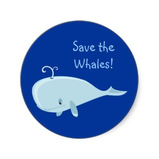 Blue Whale Round Stickers