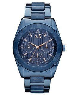 Armani Exchange Watch, Womens Chronograph Blue Stainless Steel
