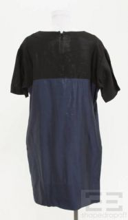 Marni Blue Black Colorblock Shift Dress Size 42