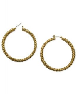 Tahari Earrings, Gold Tone Glass Crystal Black Hoop Earrings