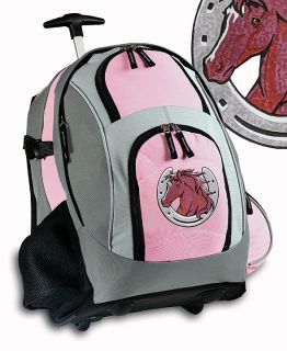 Pink Horse Rolling Backpack Horses Travel or School Bag Cute Horse