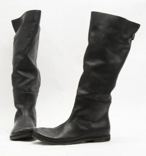 New $1178 Marsell MW1735 Black Leather Knee High Pull on Boot