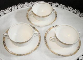 Set Of 3 Antique Two Handle Tea Cups & Saucers   K.T.& K. China P.C.B.