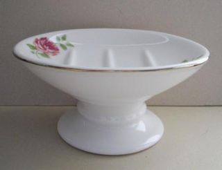 Martha Stewart Tea Rose Gold Rim Pedestal Soap Dish Fab