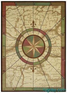 Kathy Ireland Nautical Charts Maps Compass 4x6 Area Rug