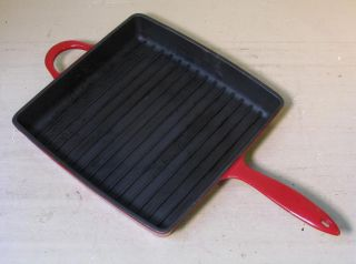Mario Batali red enamel cast iron skillet or panini press. 11 square