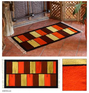Modern Hand Woven Wool Area Rug Mexico Zapotec
