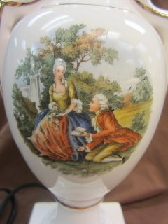 Style China Table Lamp Handpainted George Martha Washington
