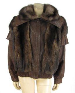 Vintage J Percy Marvin Richards Brown Leather Mink Fur Zipper Jacket