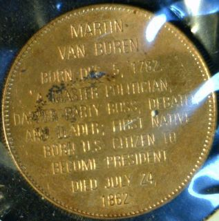 Martin Van Buren Mint Commemorative Bronze Medal Token Coin