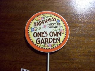 Mary Engelbreit Garden Stake Happiness Must Be Grown