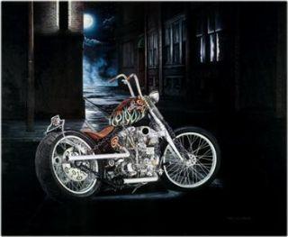 Indian Larry Portrait Chain Bobber Biker Motorcycle Art Signed Print