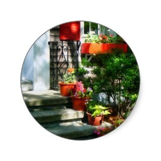 Flower Pots and Red Shutters Round Stickers