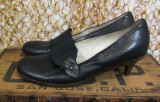 Womens Black Leather Kitten Heel Italian Mary Jane Shoes 38 5